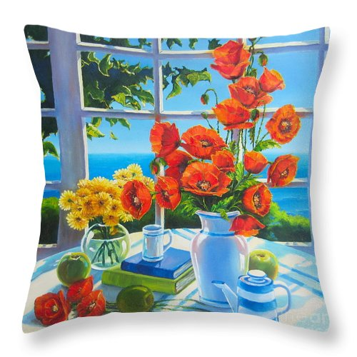 Poppies Throw Pillow featuring the painting Red Poppies And Green Apples by Elena Yalcin