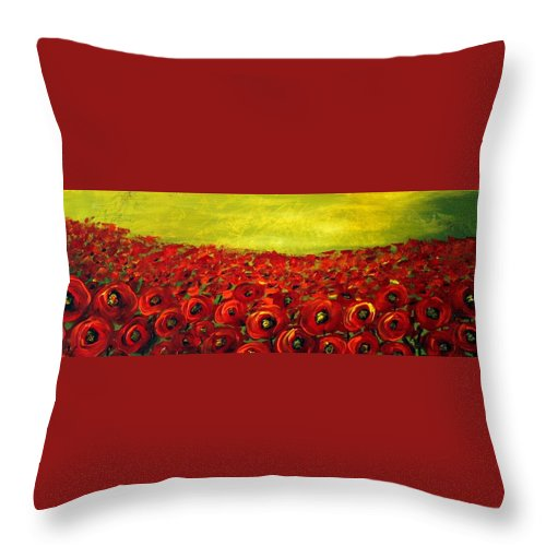 Flowers Throw Pillow featuring the painting Red Poppies Field by Luiza Vizoli