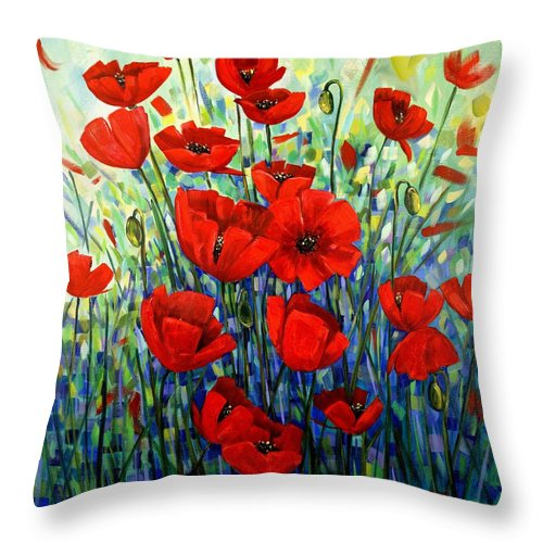 Floral Throw Pillow featuring the painting Red Poppies by Georgia Mansur