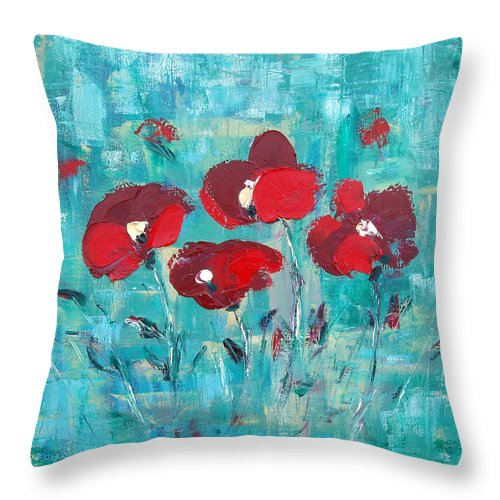 Red Throw Pillow featuring the painting Red Poppies by Gina De Gorna