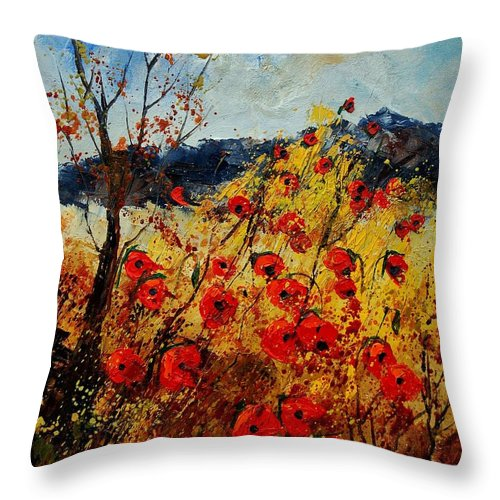Poppies Throw Pillow featuring the painting Red Poppies In Provence by Pol Ledent