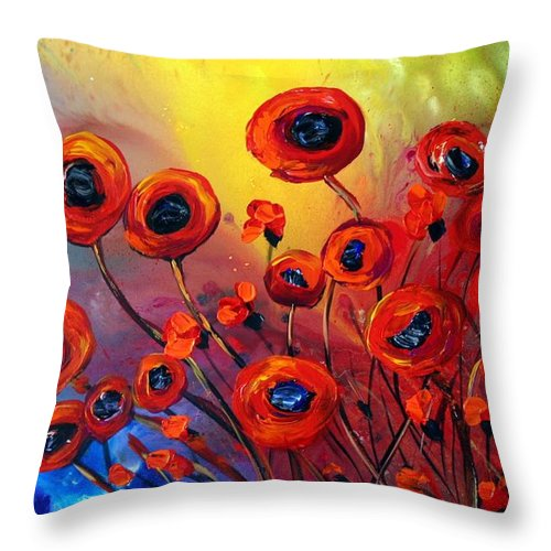 Flowers Throw Pillow featuring the painting Red Poppies In Rain by Luiza Vizoli