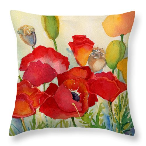 Poppies Throw Pillow featuring the painting Red Poppies by Peggy Wilson