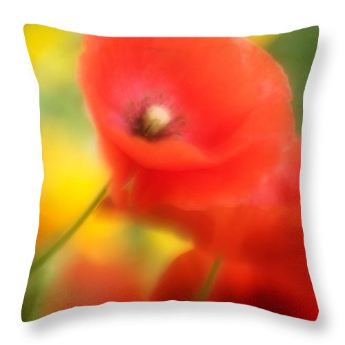 Poppies Throw Pillow featuring the photograph Red Poppies by Silke Magino