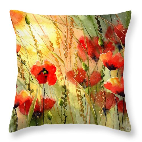 Red Throw Pillow featuring the painting Red Poppies Watercolor by Suzann Sines