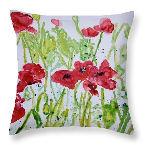 Poppy Throw Pillow featuring the painting Red Poppy Flowers by Derek Mccrea