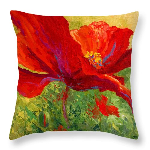 Poppies Throw Pillow featuring the painting Red Poppy I by Marion Rose