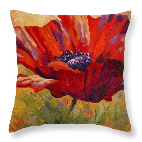 Poppies Throw Pillow featuring the painting Red Poppy II by Marion Rose