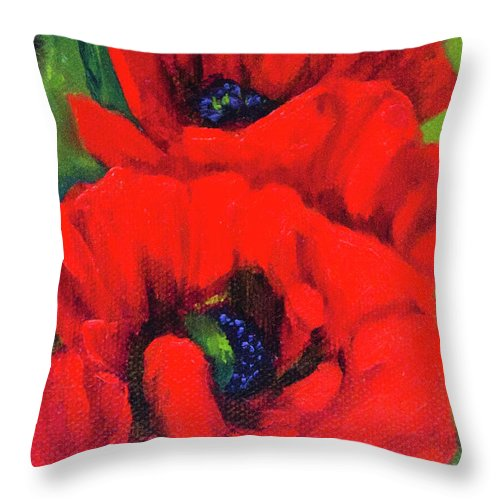 Poppy Throw Pillow featuring the painting Red Poppy by Vicki VanDeBerghe