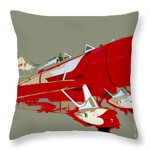 Fast Throw Pillow featuring the painting Red Racer by David Lee Thompson