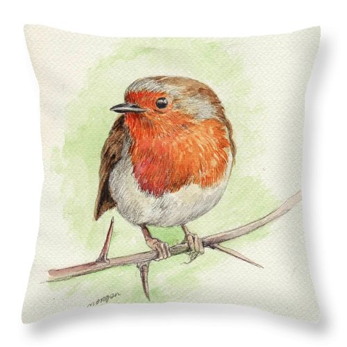 Animal Throw Pillow featuring the painting Red Robin by Morgan Fitzsimons