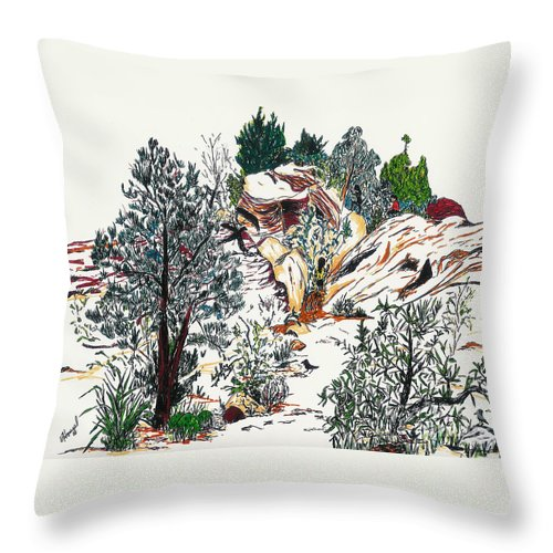 Nevada Throw Pillow featuring the painting Red Rock Children's Discovery by Vicki Housel
