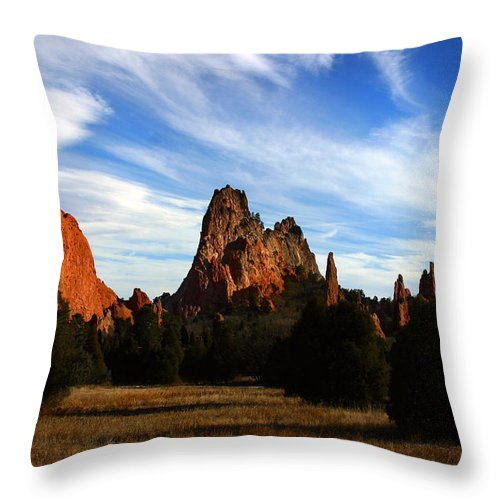 Garden Of The Gods Throw Pillow featuring the photograph Red Rock Formations by Anthony Jones