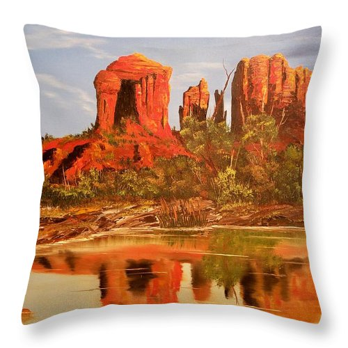 Rocks Throw Pillow featuring the painting Red Rock by Patrick Trotter