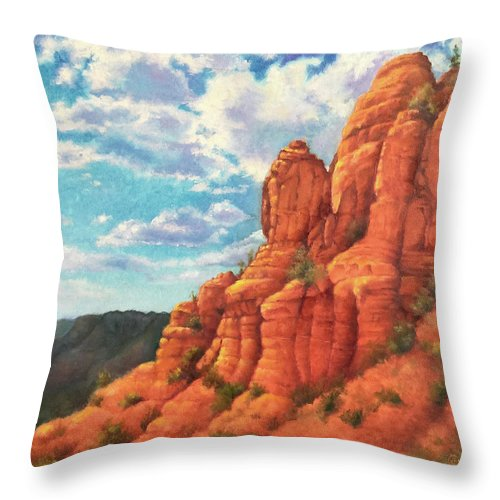 Sedona Throw Pillow featuring the painting Red Rocks by Teri Rosario