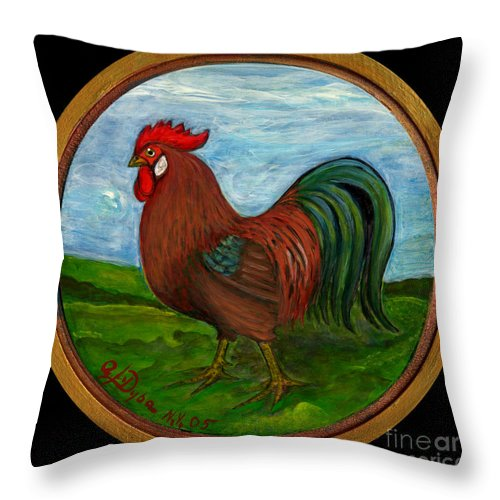 Folkartanna Throw Pillow featuring the painting Red Rooster by Anna Folkartanna Maciejewska-Dyba