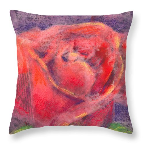 Rose Throw Pillow featuring the mixed media Red Rose by Arline Wagner
