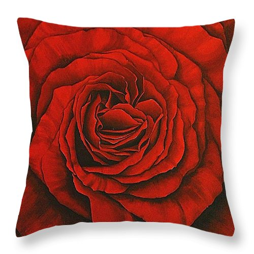 Red Throw Pillow featuring the painting Red Rose II by Rowena Finn