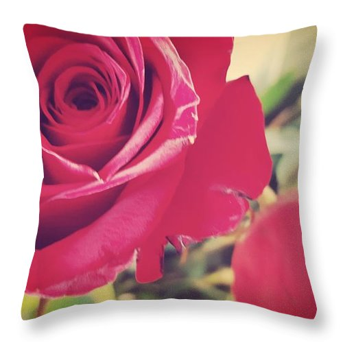 Red Roses Throw Pillow featuring the photograph Red Roses by Adrienne Zulkoski