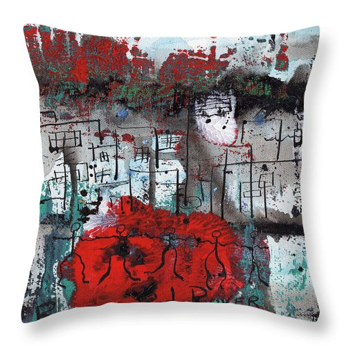 Abstract Throw Pillow featuring the painting Red Rover Red Rover by Wayne Potrafka