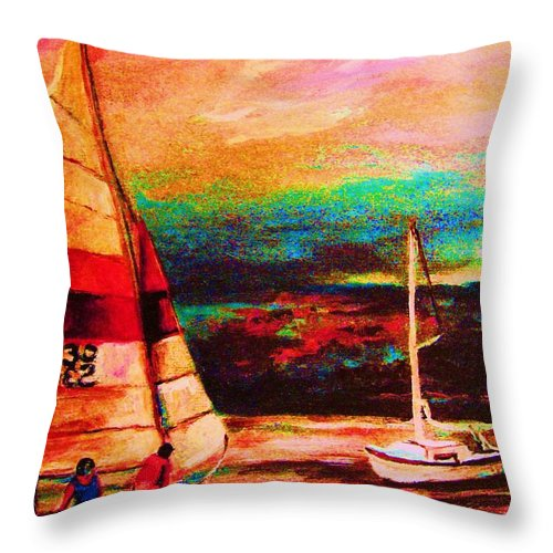 Sailing Throw Pillow featuring the painting Red Sails In The Sunset by Carole Spandau