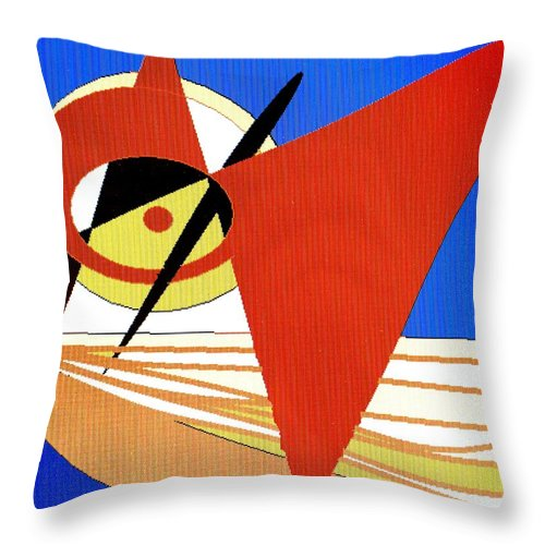 Boat Throw Pillow featuring the digital art Red Sails In The Sunset by Ian MacDonald