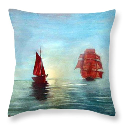 Sail Ship Throw Pillow featuring the painting Red Sails In The Sunset by Richard Le Page