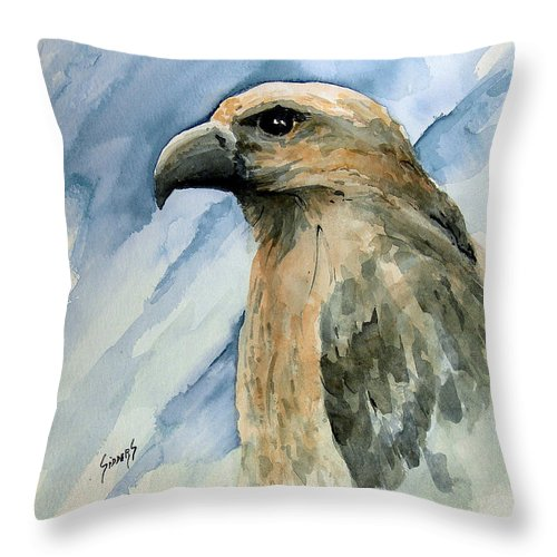 Bird Throw Pillow featuring the painting Red by Sam Sidders