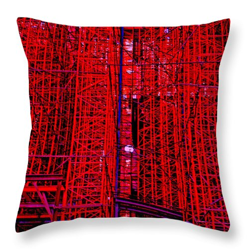 Scaffold Throw Pillow featuring the photograph Red Scaffold by Andy Mercer