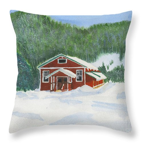 Schoolhouse Throw Pillow featuring the painting Red School House by Louise Magno