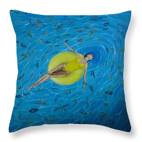 Sea Throw Pillow featuring the painting Red Sea by Polina Kamenska
