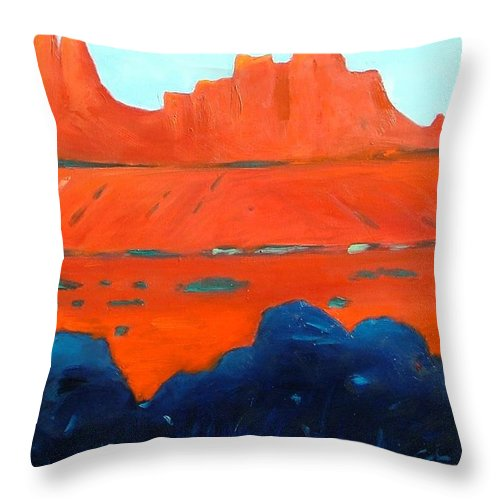 Landscape Throw Pillow featuring the painting Red Sedona by Gary Coleman