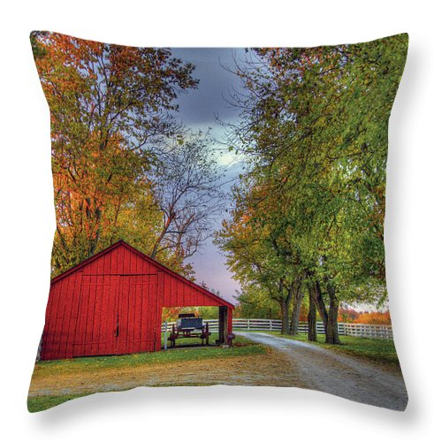 Shaker Throw Pillow featuring the photograph Red Shaker Carriage Barn by Sam Davis Johnson