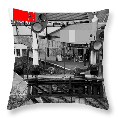 Trains Throw Pillow featuring the photograph Red Signal by Christopher Rowlands