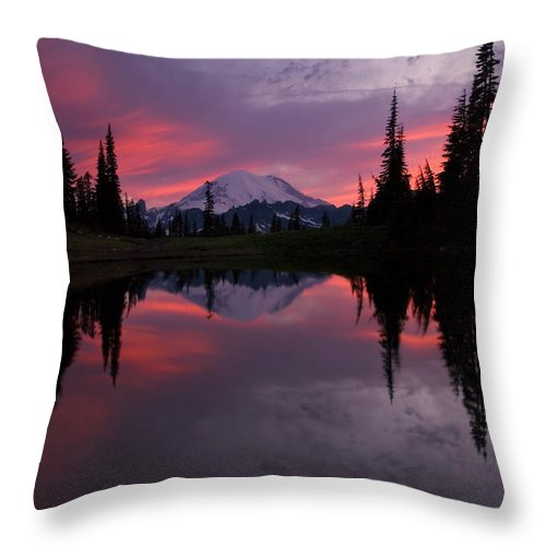 Rainier Throw Pillow featuring the photograph Red Sky At Night by Mike Dawson
