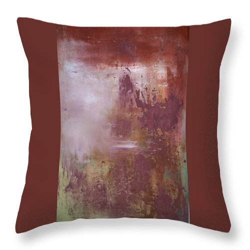 Mixed Media Throw Pillow featuring the painting Red Sky Sold by Elizabeth Klecker