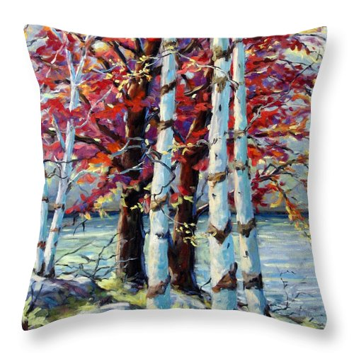 Birches Throw Pillow featuring the painting Red Splash by Richard T Pranke