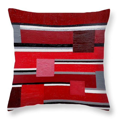 Contemporary Throw Pillow featuring the painting Red Square by Tara Hutton
