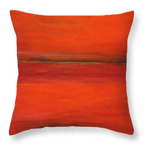 Landscape Red Abstract Throw Pillow featuring the painting Red Study by Garry Conway