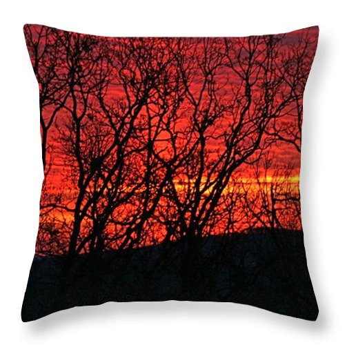 Sunrise Throw Pillow featuring the photograph Red Sunrise Over The Ozarks by Nadine Rippelmeyer