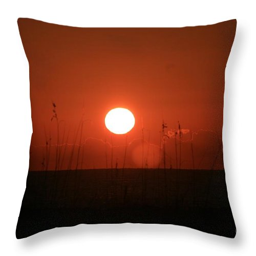 Sunset Throw Pillow featuring the photograph Red Sunset And Grasses by Nadine Rippelmeyer