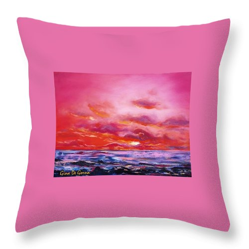 Red Throw Pillow featuring the painting Red Sunset by Gina De Gorna