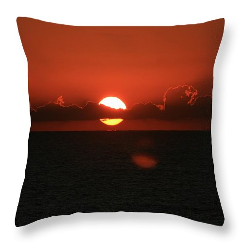 Sunset Throw Pillow featuring the photograph Red Sunset Over the Atlantic by Nadine Rippelmeyer