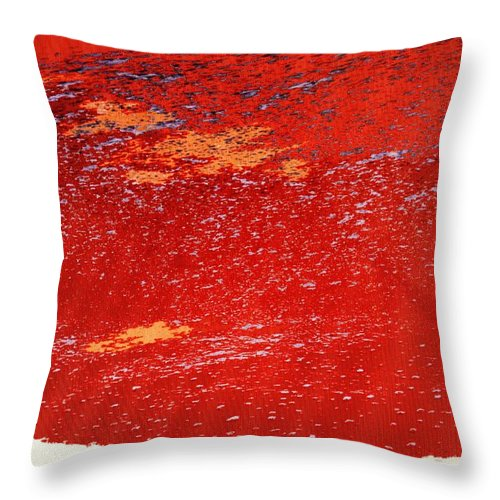 Red Throw Pillow featuring the photograph Red Surf On The Beach by Ian MacDonald