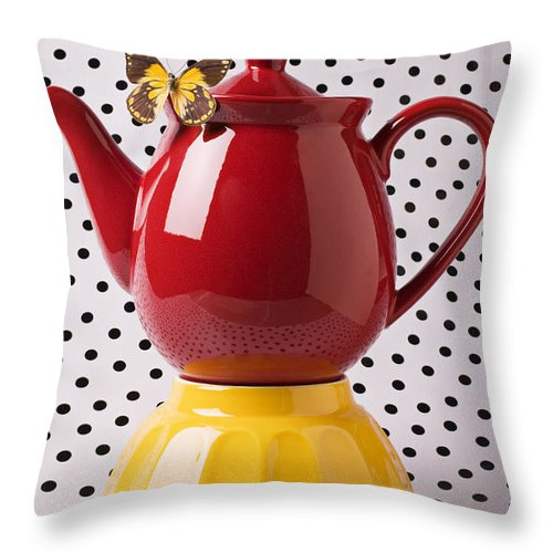 Yellow Throw Pillow featuring the photograph Red Teapot With Butterfly by Garry Gay