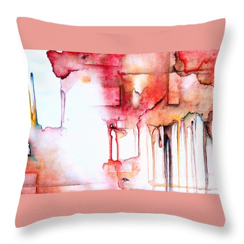 Abstract Throw Pillow featuring the painting Red by Teresa Trimble