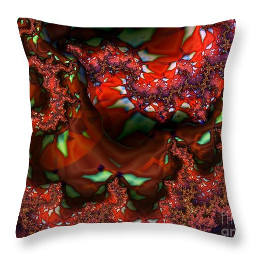 Berry Throw Pillow featuring the digital art Red Thread by Ron Bissett