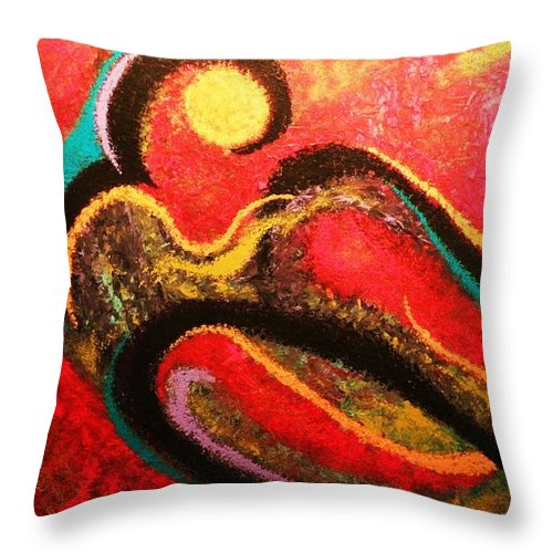 Red Throw Pillow featuring the painting Red Tide by Todd Hoover