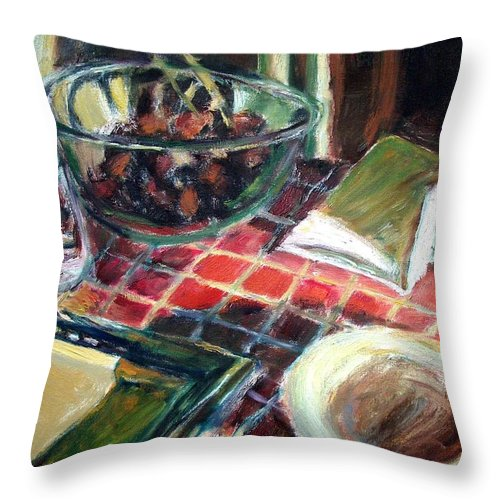 Dornberg Throw Pillow featuring the painting Red Tile by Bob Dornberg