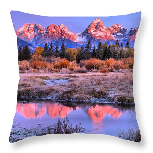 Grand Teton Throw Pillow featuring the photograph Red Tip Teton Reflection Panorama by Adam Jewell